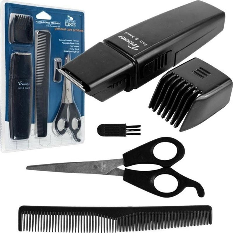 Journey's Edge Five Piece Hair and Beard Trimmer Grooming Set (Black)